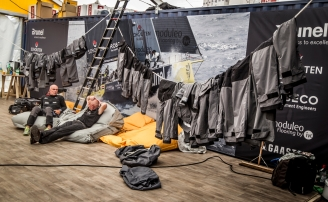 November 17, 2014. In the Boatyard; Team Brunel preparing for Leg 2.