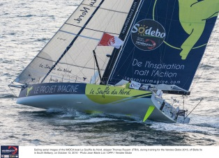 Sailing aerial images of the IMOCA boat Le Souffle du Nord, skipper Thomas Ruyant (FRA), during training for the Vendee Globe 2016, off Belle Ile in South Brittany, on October 13, 2016 - Photo Jean-Marie Liot / DPPI / Vendée GlobeImages aériennes de Le Souffle du Nord, skipper Thomas Ruyant (FRA), au large de Belle Ile lors de son convoyage vers les Sables d'Olonne, le 13 Octobre 2016 - Photo Jean Marie Liot / DPPI / Vendée Globe