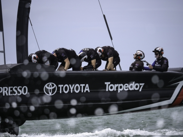 Emirates Team New Zealand sail their America's Cup Class race boat for the second day in Auckland New Zealand